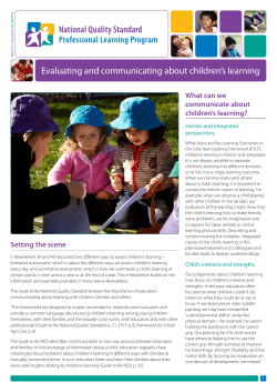 Evaluating and communicating about children's learning What can we communicate about children's learning?
