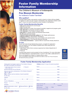 Free Museum Membership  for Indiana's Foster Families!