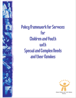 Policy Framework for Services for Children and Youth with