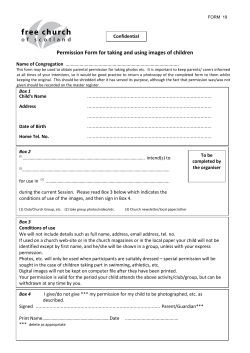Permission Form for taking and using images of children Confidential