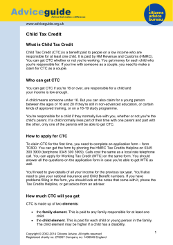 Advice guide  Child Tax Credit