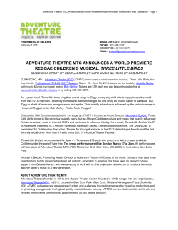 ADVENTURE THEATRE MTC ANNOUNCES A WORLD PREMIERE THREE LITTLE BIRDS