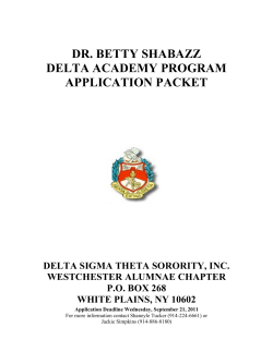 DR. BETTY SHABAZZ DELTA ACADEMY PROGRAM APPLICATION PACKET