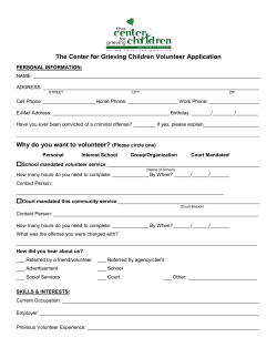 The Center for Grieving Children Volunteer Application
