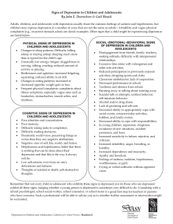 Signs of Depression in Children and Adolescents  By John E. Desrochers & Gail Houck