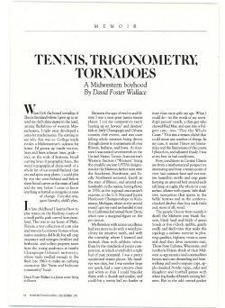 TENNIS, TORNADOES TRIGONOMETR~ By David Foster Wallace