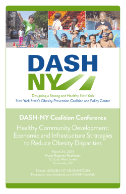 DASH-NY Coalition Conference Healthy Community Development: Economic and Infrastucture Strategies