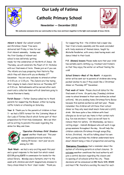 Our Lady of Fatima Catholic Primary School  Newsletter — December 2012