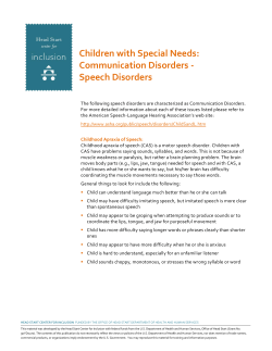 Children with Special Needs: Communication Disorders - Speech Disorders