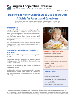 Healthy Eating for Children Ages 2 to 5 Years Old:
