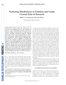 Nurturing Mindfulness in Children and Youth: Current State of Research