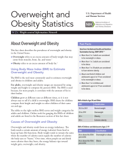 Overweight and Obesity Statistics About Overweight and Obesity WIN
