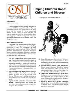 Helping Children Cope: Children and Divorce Family and Consumer Sciences T-2374