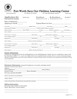 Fort Worth Save Our Children Learning Center Application for: 1 of 2