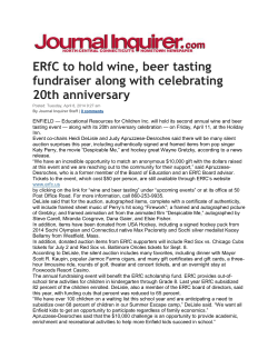 ERfC to hold wine, beer tasting fundraiser along with celebrating 20th anniversary