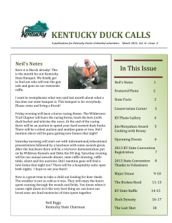KENTUCKY DUCK CALLS In This Issue Neil's Notes