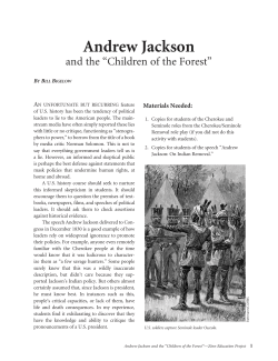 "Andrew Jackson and the ""Children of the Forest"" A"