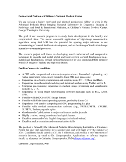 Postdoctoral Position at Children's National Medical Center