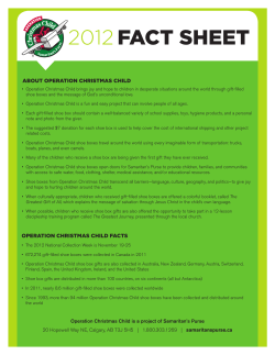 FACt sheet 2012 About operAtion ChristmAs Child