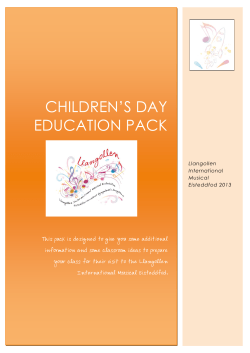 CHILDREN'S DAY EDUCATION PACK Llangollen International