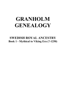 GRANHOLM GENEALOGY SWEDISH ROYAL ANCESTRY