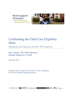 Confronting the Child Care Eligibility Maze Gina Adams, The Urban Institute