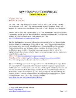 NEW TEXAS YOUTH CAMP RULES Effective May 16, 2010