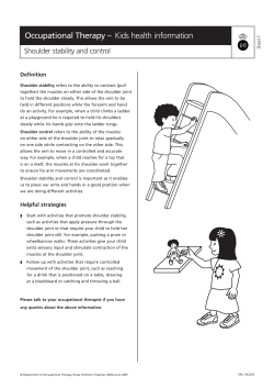 Occupational Therapy – Kids health information Shoulder stability and control Definition Sheet F