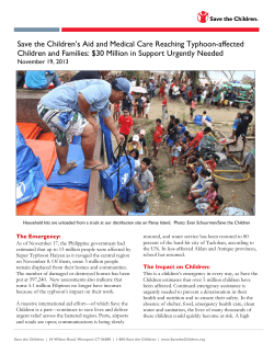 Save the Children's Aid and Medical Care Reaching Typhoon-affected