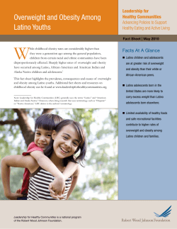 W Overweight and Obesity Among Latino Youths Facts At A Glance