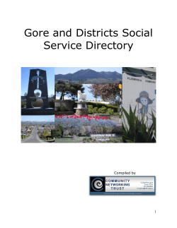 Gore and Districts Social Service Directory  Compiled by