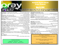 May 14, 2014 Northside Baptist Church Prayer Requests