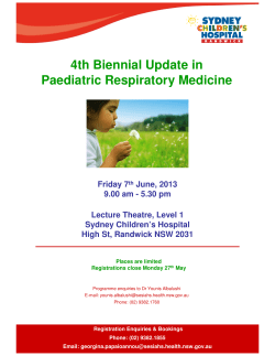4th Biennial Update in Paediatric Respiratory Medicine