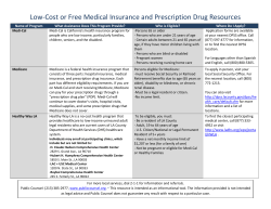 Low-Cost or Free Medical Insurance and Prescription Drug Resources