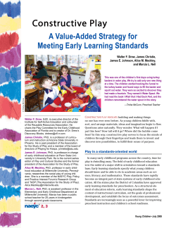 Constructive Play A Value-Added Strategy for Meeting Early Learning Standards