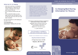 Co-Sleeping/Bed-Sharing Safety tips for cot sleeping King Edward Memorial Hospital