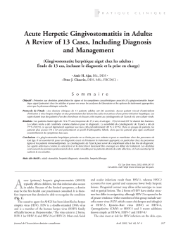 Acute Herpetic Gingivostomatitis in Adults: and Management