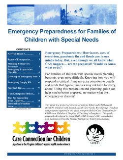 Emergency Preparedness for Families of Children with Special Needs