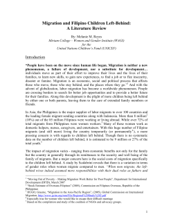 Migration and Filipino Children Left-Behind: A Literature Review  Introduction