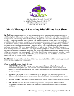 Music Therapy & Learning Disabilities Fact Sheet Definition
