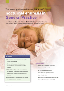 nocturnal enuresis in General Practice The investigation and management of