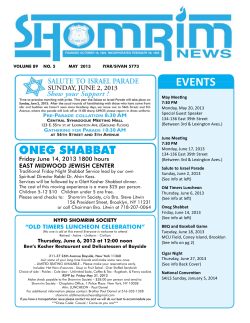 EVENTS ONEG SHABBAT