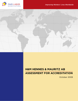 H&M HENNES & MAURITZ AB ASSESSMENT FOR ACCREDITATION  October 2008