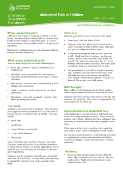 Emergency Department fact sheets Abdominal Pain in Children