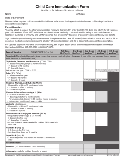 Child Care Immunization Form