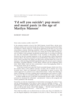 'I'd sell you suicide': pop music Marilyn Manson 1