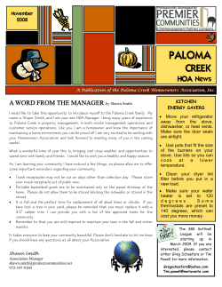PALOMA  CREEK HOA News