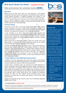 New provisions for window locks  (NSW) BCS Smart Strata Fact Sheet –