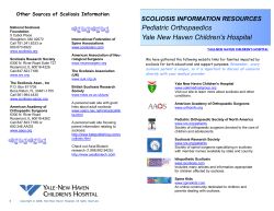 Pediatric Orthopaedics  SCOLIOSIS INFORMATION RESOURCES Other Sources of Scoliosis Information