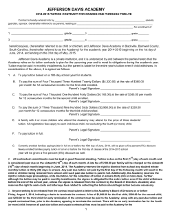 JEFFERSON DAVIS ACADEMY  2014-2015 TUITION CONTRACT FOR GRADES ONE THROUGH TWELVE